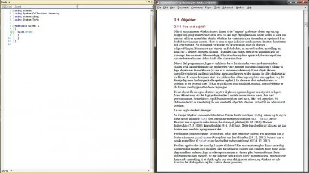 Smart organisering av vindu når en skal studere - til venstre er kodevinduet fra Visual Studio mens til høyre er en leksjon fra et programmeringsfag. Klikk for stor versjon