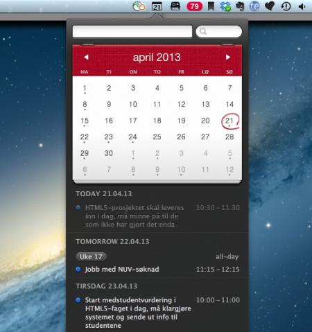 Fantastical - effektivt GUI opp mot dine kalendere