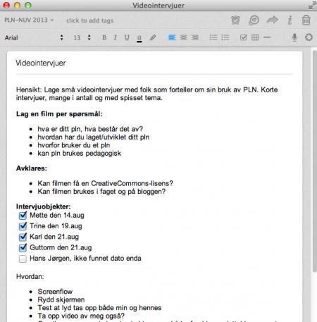 Eksempel på nyttig notat i Evernote for å planlegge videointervjuer. Merk hvordan checkboksene brukes.
