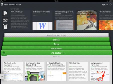 Slik ser Evernote ut på iPad. Trykker du for eksempel på den grønne headeren Tags, fylles skjermen av alle tagger du har lagret, og du kan deretter velge en tagg og så får se alle notater med den taggen. Veldig rask måte å navigere på.