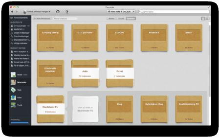 Eksempel på organisering i Evernote. Klikk for stor versjon.