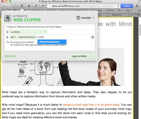 Web-clipper: En liten plugin som gjør at du kan lagre innhold fra websider rett inn i Evernote. Klikk for større versjon.