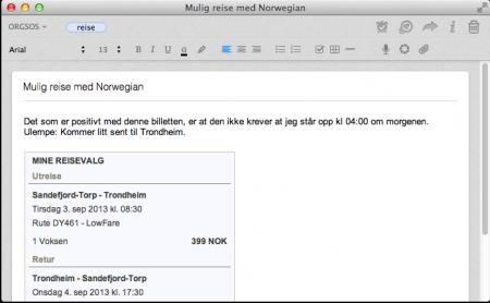 Skitch 1: Et Evernote-notat med forslag til reiserute og noe tekst. Klikk for stor versjon.