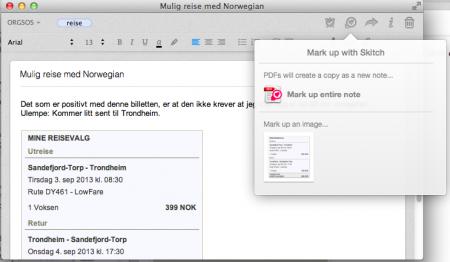 Skitch 2: Evernote har funksjonalitet for å redigere bilder direkte i Skitch. Klikk for større versjon.