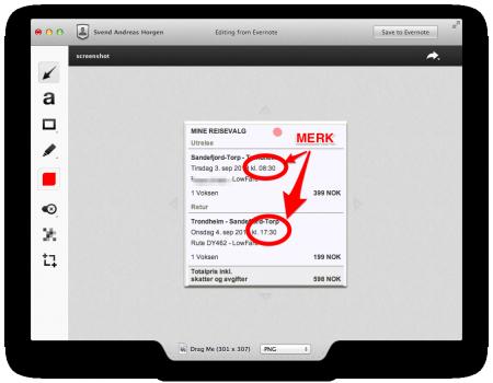 Skitch 3: Det er lett å legge på piler, tekst og sensurere sensitivt innhold i Skitch. Klikk for større versjon.