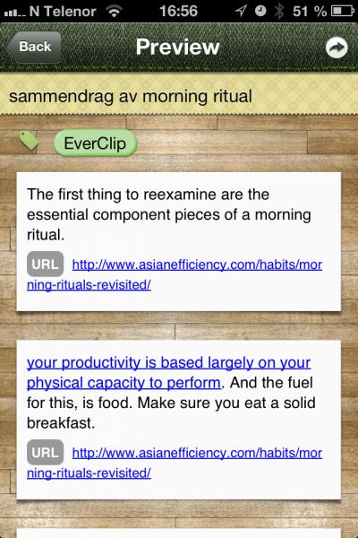 EverClip forhåndsviser resultatet. Merk hvordan ikke bare teksten du klippet ut, men også URL fra webutklipp, vises.