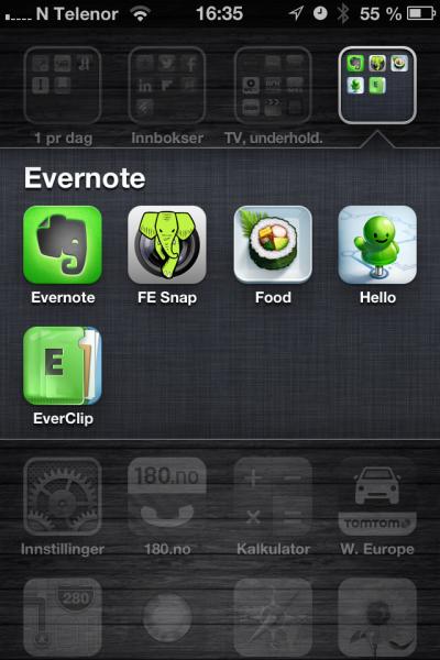 På telefonen min har jeg flere hendige Evernote-app-er.