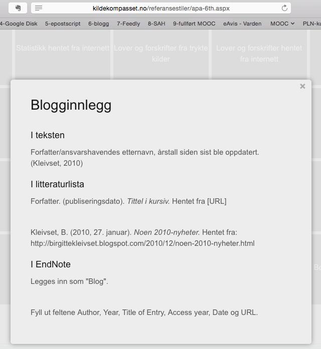 Eksempel på hvordan du skal henvise til blogginnlegg i henhold til APA-stil